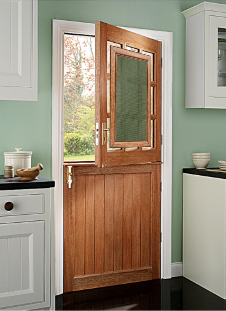 green kitchen door