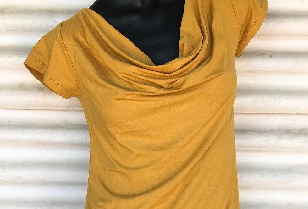 Bamboo Cowl Neck Top - Saffron
