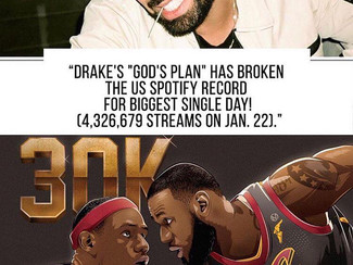 Drake Breaks US Spotify Record & Lebron James joins the 30K Club