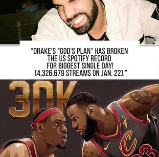 Drake Breaks US Spotify Record & Lebron James joins the 30K Club