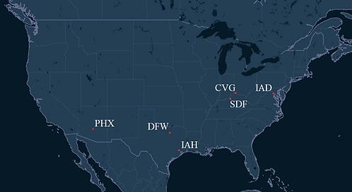 Mesa Airlines Pilot Bases Map