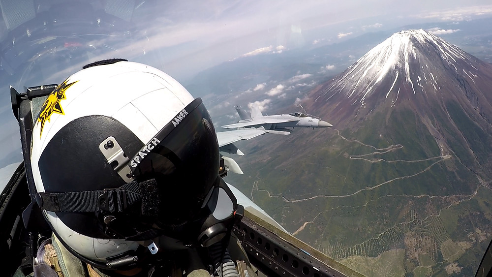 F/A-18 flying over Mount Fuji