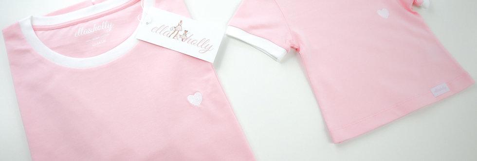 Pink/White Organic Cotton Ringer T-shirt