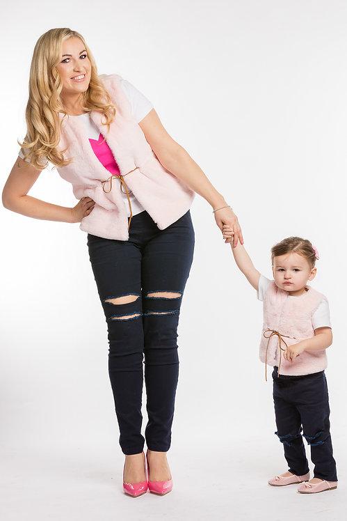 Mama Bear & Baby Bear Matching Faux Fur Gilet Set