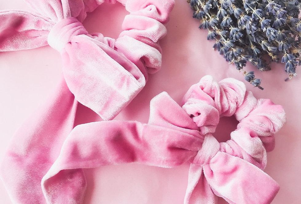 Mama & Me Blush Pink Velvet Bow Scrunchies