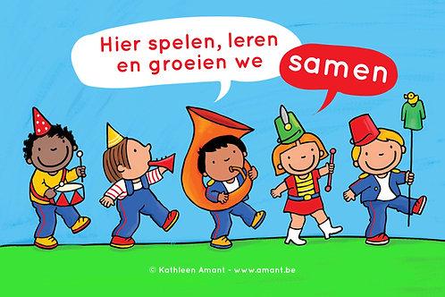 Spandoek 'Hier spelen, leren en groeien we samen'
