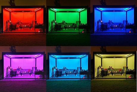Sonnenschutz Terrasse mit RGB-Beleuchtung