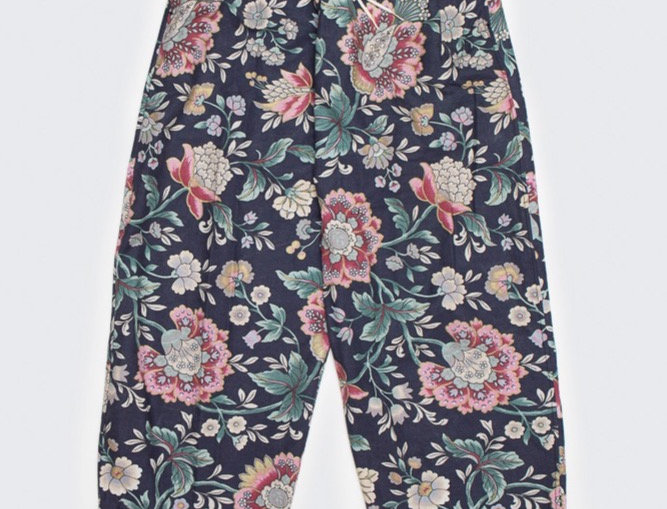 Upcycled Curtain Pants - Midnight Flowers