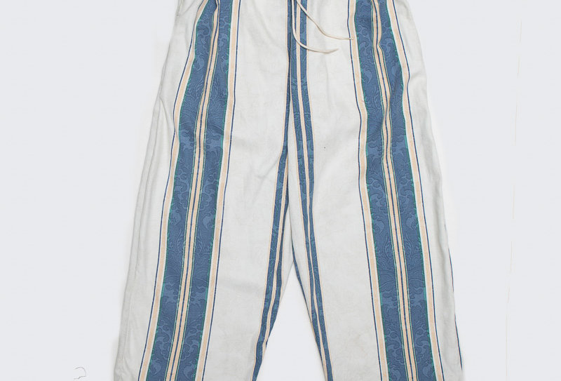 Upcycled Curtain Pants -Striped Blue