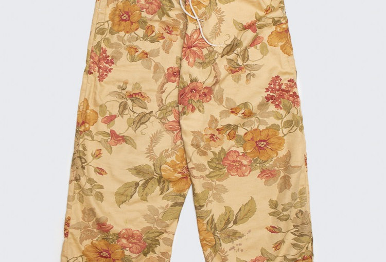 Upcycled Curtain Pants - yellow flowers