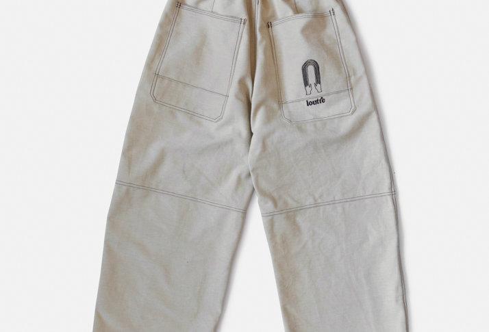 Beige Rainbow Oversized Organic Cotton Pants