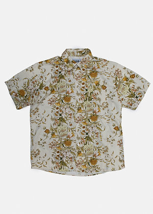 Floral Print Upcycled Curtain Shirt