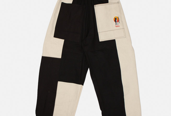 Black and Beige Patchwork Panda Oversized Cotton Pants