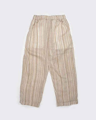 Upcycled Curtain Pants - Brown Stripes