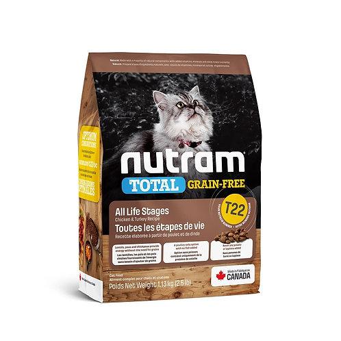 NEW T22 NUTRAM TOTAL GRAIN-FREE TURKEY CHICKEN & DUCK CAT 1.13KG - 5.4KG