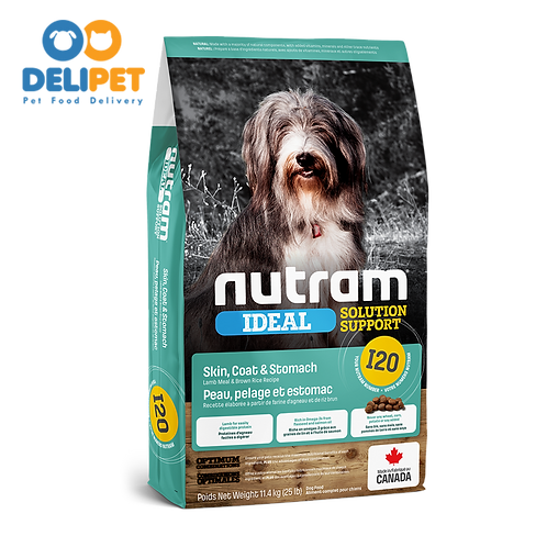 NEW I20 NUTRAM IDEAL SENSITIVE SKIN COAT & STOMACH DOG (2KG - 11.4KG)