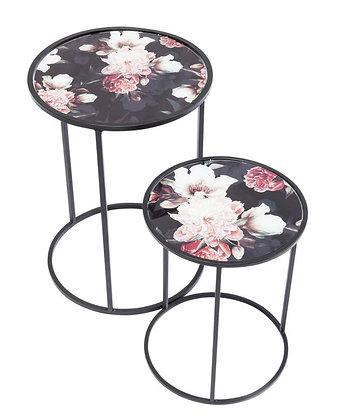 Tables d'appoint fleuries set de 2