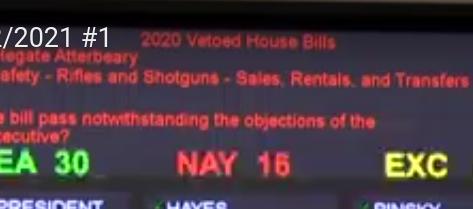 Governor's 2020 Vetoes Overridden