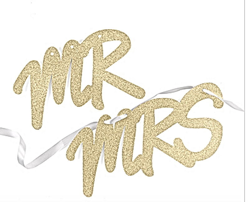 Glitter Mr Mrs Sign