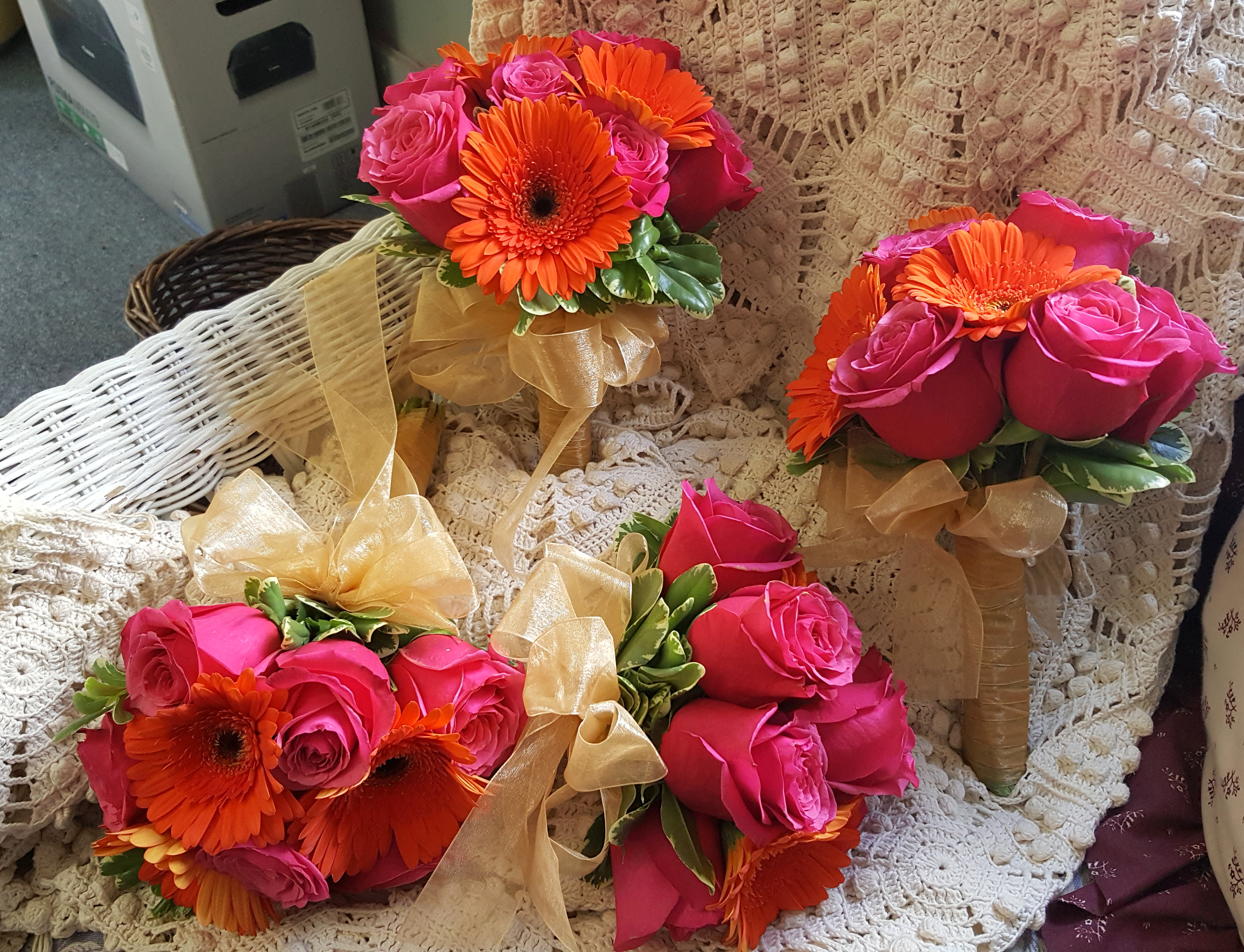 Bright Pink & Coral Bouquets