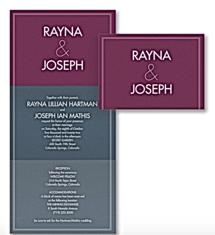 Color Block Wedding Invitation