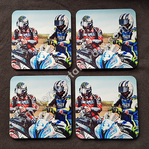 """""""Brothers, Rivals, Racers"""" coasters."""