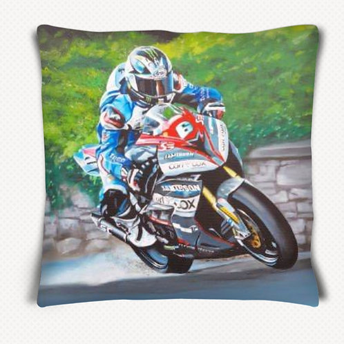 "Michael Dunlop, ""All of the Road"" Cushion."