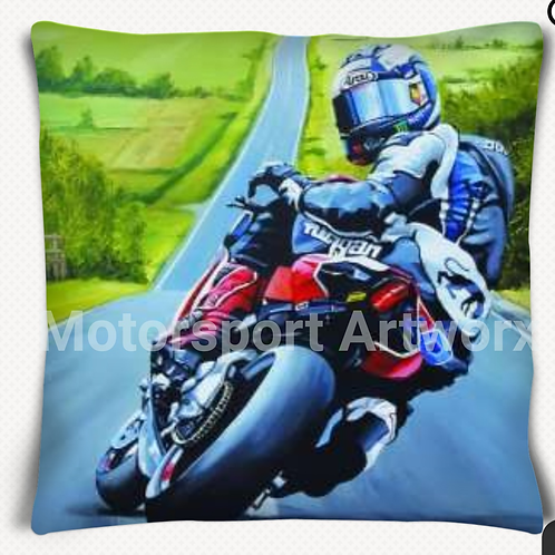 """C'mon"" Michael Dunlop cushion"