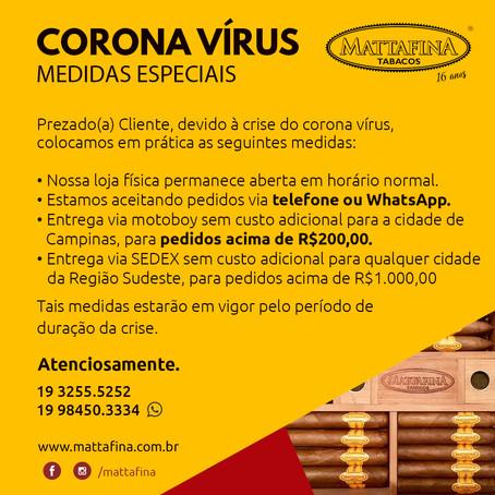 CORONA VÍRUS - MEDIDAS ESPECIAIS
