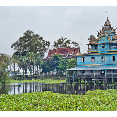 The Blue Pagoda, Battambang, Tonle Sap, Cambodia
