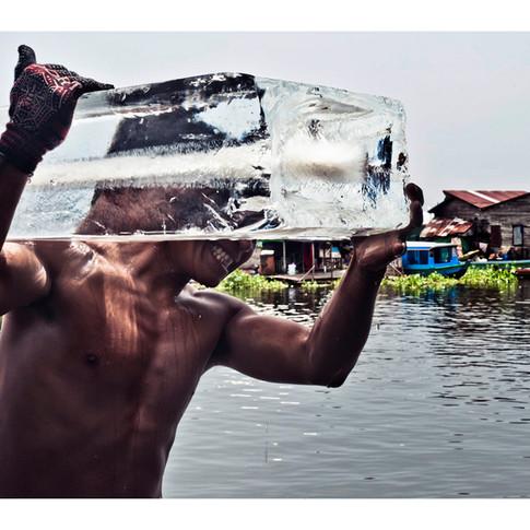 Ice Delivery.  Stilt Village, Tonle Sap, Cambodia
