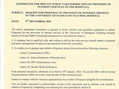 REQUEST FOR PROPOSAL ON PROVISION OF INTERNET SERVICES TO THE UNIVERSITY OF MAIDUGURI TEACHING HOSP.