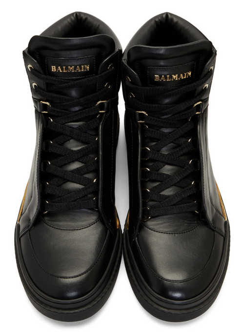 Black Leather Atlas High-Top Sneakers Balmain 7crSj8Vf6Y
