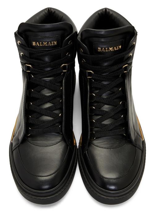 Black Leather Atlas High-Top Sneakers Balmain