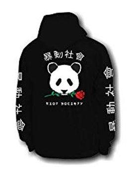 Riot Society Panda Rose Mens Graphic Pullover Hoodie Sweatshirt - Black