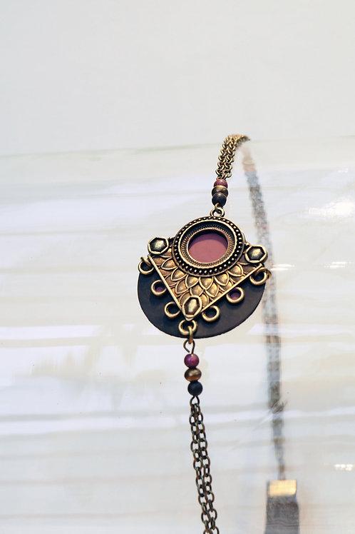Headband Jaïpur Lie de vin/Bronze
