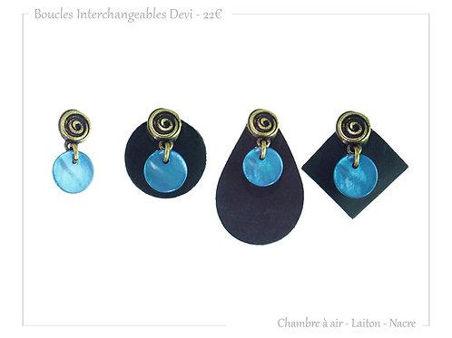 Boucles Devi 4/1 Bleu Azur