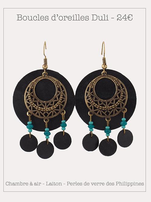 Boucles d'oreilles Duli Bronze Emeraude