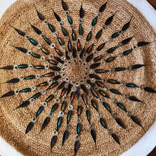 Boucles plumes 7 chakras xxl doré