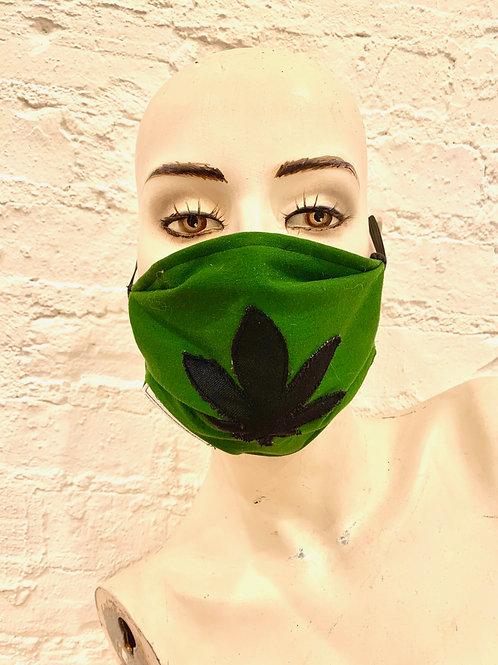 the Mary Jane Mask: dark leaf on green