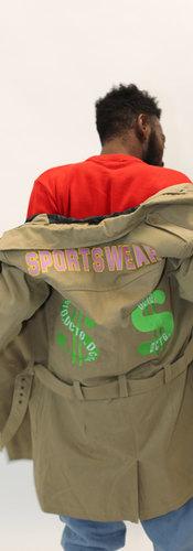 DCTG™ Knit Sweater Money Trench Coat Graffiti Stonewash Denim