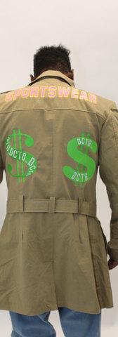 DCTG™ Knit Sweater Money Trench Coat Graffit Stonewash Denim