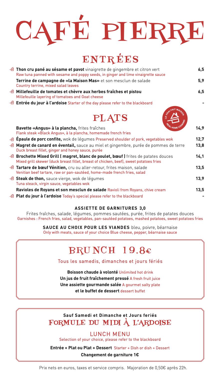 Carte Cafe Pierre 1