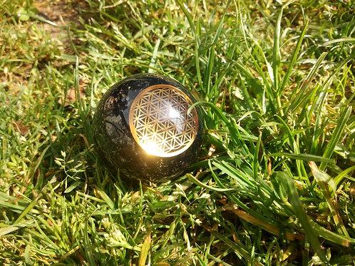 Boule d'orgonite Chakra, avec 1 type de pierre précieuse pour chaque chakra
