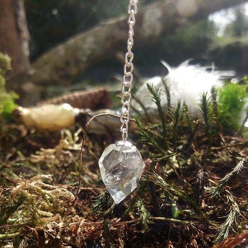 Pendule cristal de roche - larmeà facettes