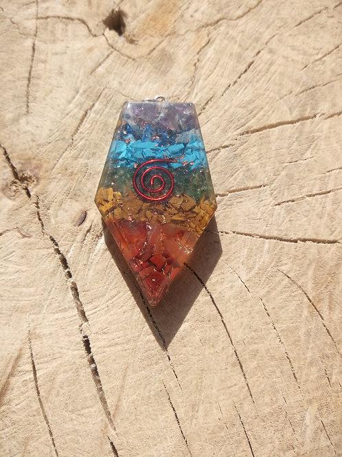 Orgonite pendentif pentagonal multicouleur