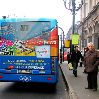 D'innombrables campagnes de publicités 360° (Pub, RP, event, B²B, Influencers...)  Ici un exemple d'une campagne Outdoor pour Eurosport et les Jeux Olympiques à Turin qui faisait partie d'une campagne globale à travers l'Europe