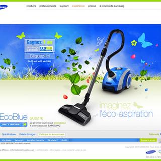 La production de dizaines de sitewebs avec animation 3D et expérience consommateur pour des lancements produit en collaboration avec le chef de projet digital Ici un exemple du site Ecoblue,  le site d'eléctroménager le plus visté dans l'histoire de Samsung (à l'époque) pour lequel nous avons également remporté un prix pour le design