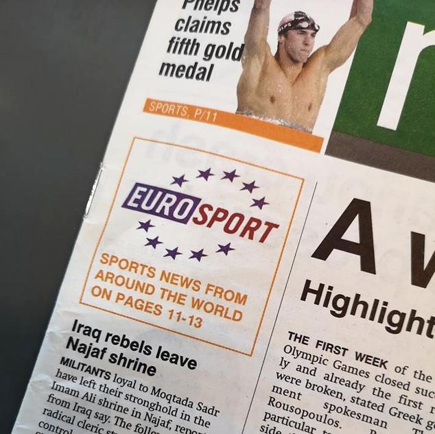 Logo sur couverture chaque jour pendant 3 semaines qui envoye le lecteur vers les pages Eurosport