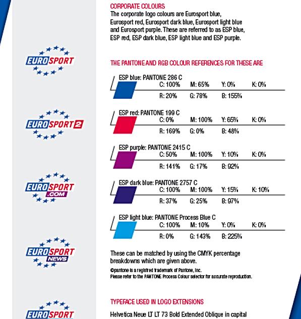 """Création de charte graphique Ici un exemple pour Eurosport où j'ai refait toute la charte graphique pour l'entreprise en Europe Refont et création de logos pour tout média et développement de la déclinaison de la charte pour tout support (carte de viste, publicité, communique de presse, signature e-mail, en-tête...) J'ai également créé la charte graphique """"Promotions magasin"""" pour Samsung"""